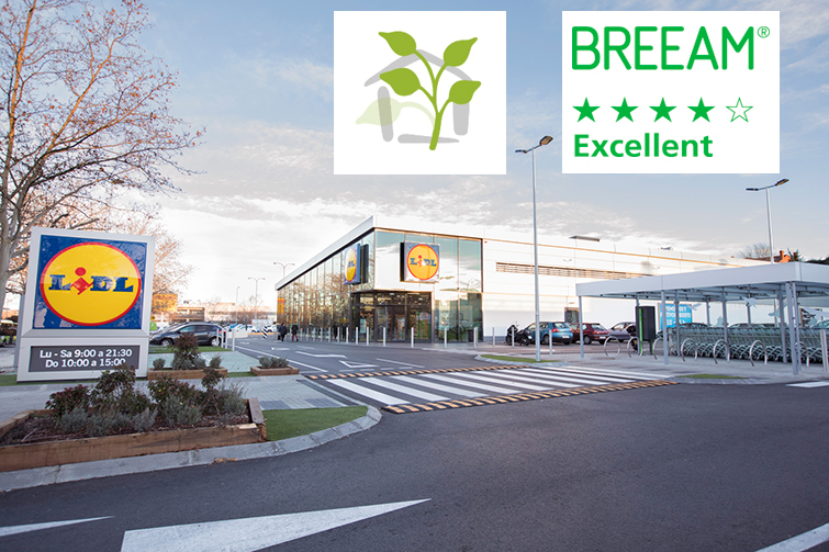 Certificado final BREEAM EXCELENTE y VERDE 4 HOJAS para la tienda Lidl en Coslada