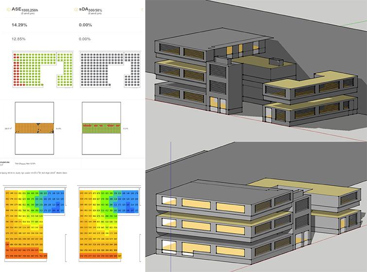 Estudio lumínico Daylight para plataforma logística con seis naves industriales LEED v4